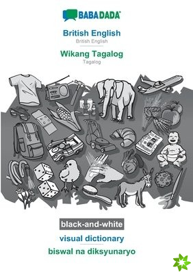 BABADADA black-and-white, British English - Wikang Tagalog, visual dictionary - biswal na diksyunaryo