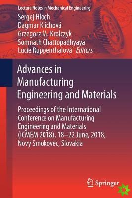 Advances in Manufacturing Engineering and Materials